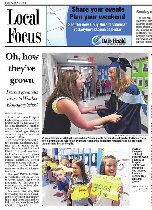 Windsor's Senior Walk was featured on page three of the Daily Herald.
