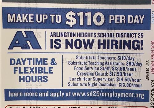 District 25 purchased ad space on the back of a local grocery store's receipt to spread the word on available positions.