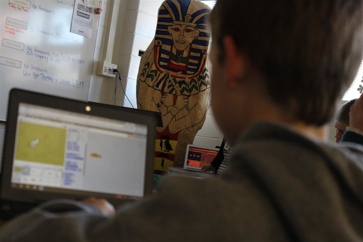 Students worked on coding their name in hieroglyphics.