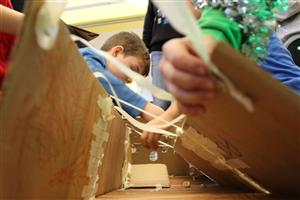One group of Windsor Wildcats built a ski ball game from cardboard.