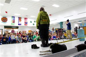 Westgate 1st & 2nd graders could not take their ears and eyes off of Moon and his dog Hera.