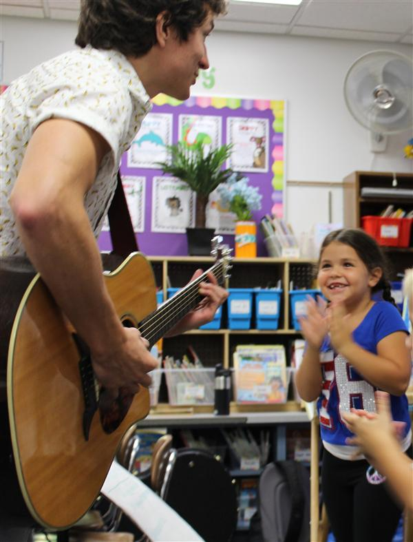 Students learned to make up their own songs guided by a musician.