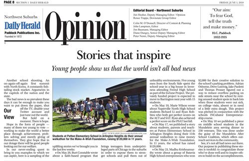 Patton in the Herald. An editorial mentioned the walk-a-thon.