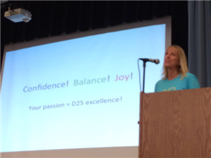 Supt. Dr. Lori Bein addressed 800 plus teachers and staff.