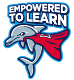 This Empowered to Learn logo visually shows students how to be a superhero through learning.