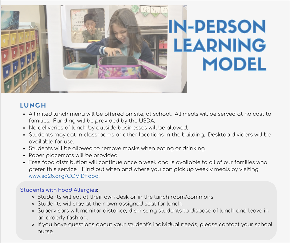 In-Person Learning Model - Lunch Guidelines