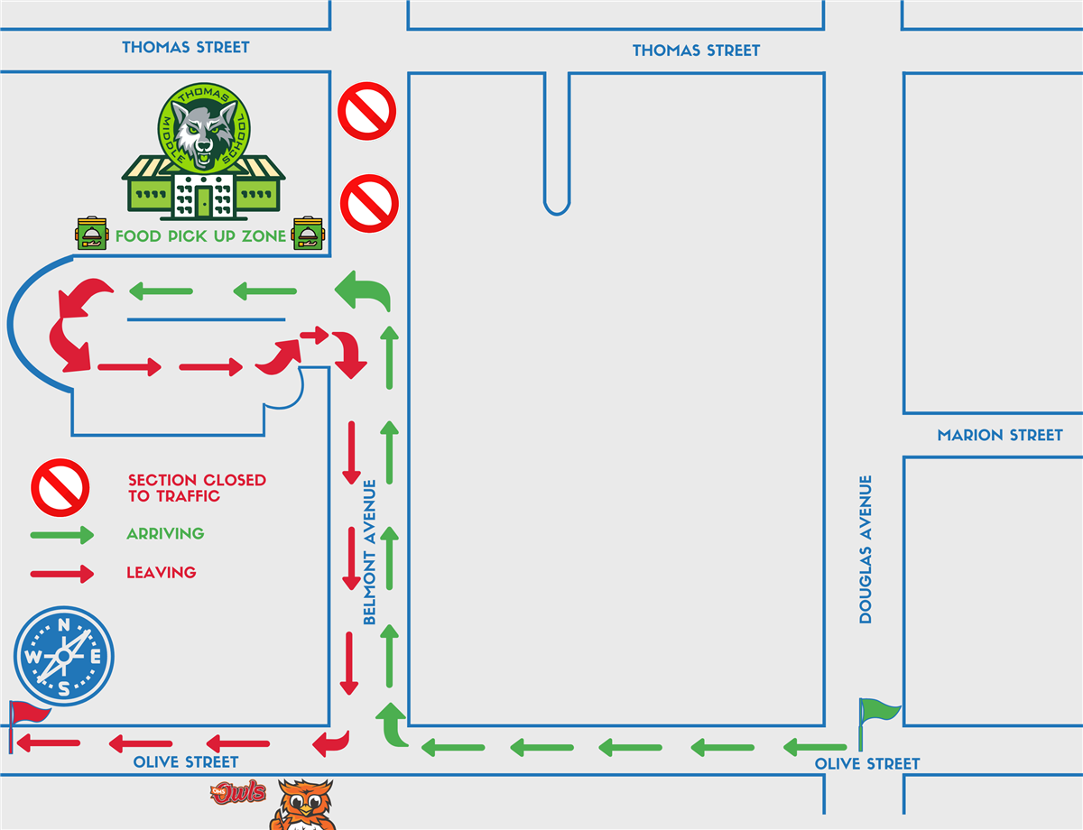 Food Distribution Map - Start going west down Olive. Take a right onto Belmont. Take a left into Thomas.