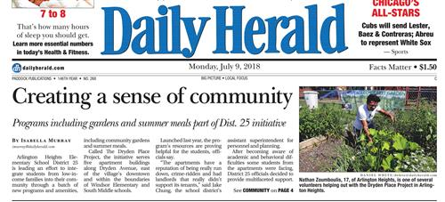 Daily Herald front page article about the Dryden Place Project and its community garden.