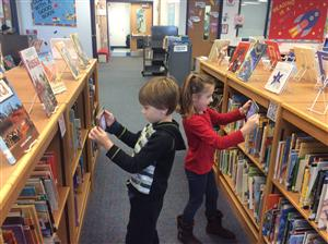 QR hunt in the library.