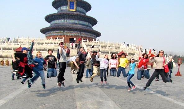 Students jump for joy in China!